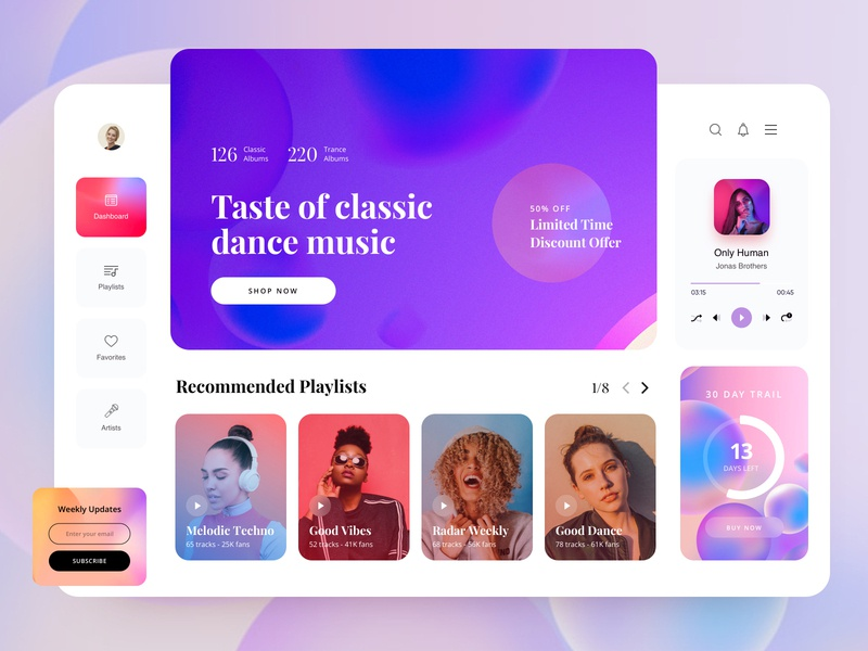 Music Player Web Application dashboard blue music player ui gradient minimal musician trendy colorful uidesign music web app music web music player