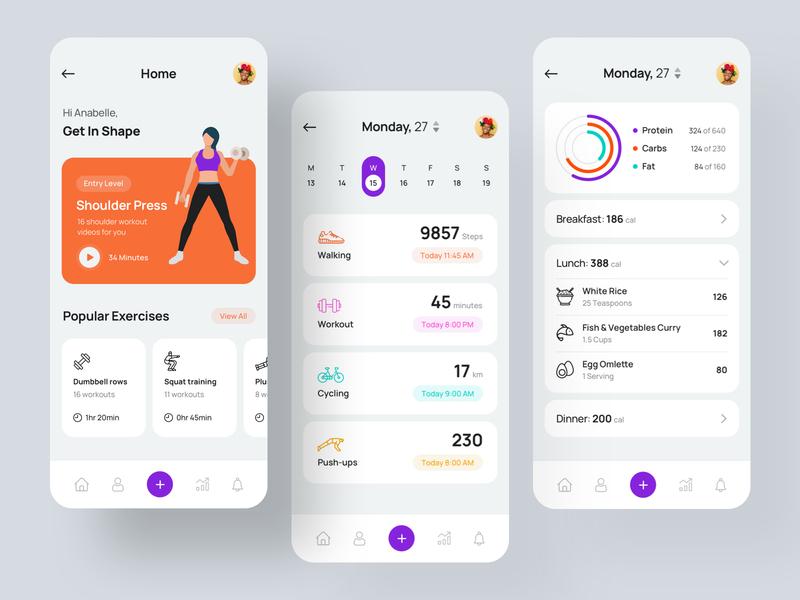 Health and Fitness iOS App uxdesign ui appmockup illustration designer minimal userinterface dailyui uiux training creative uitrends appdesign iosapp appui fitness health app