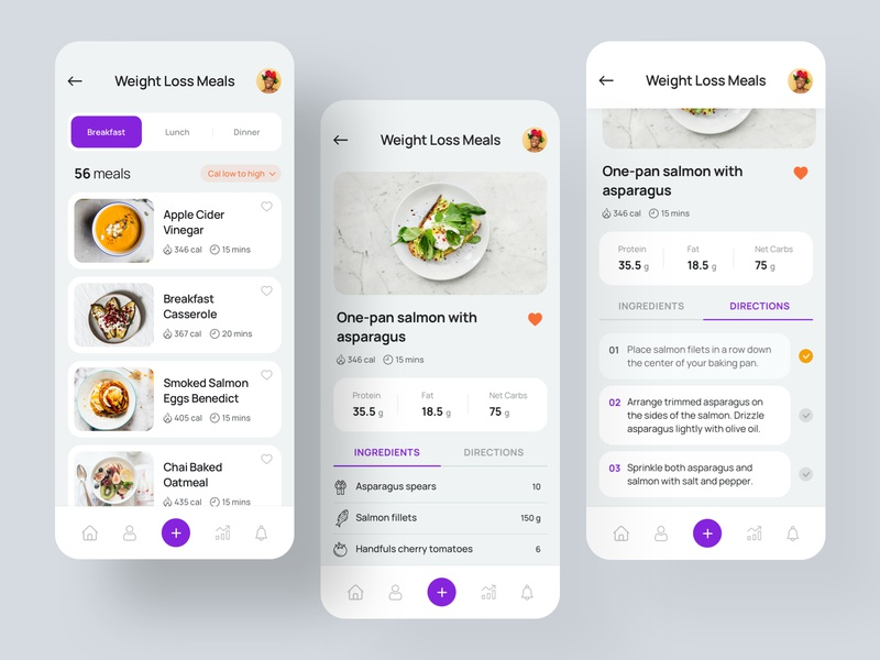 Health and Fitness iOS App recipe product design minimal uitrends uiux trending userinterface training iosapp healthapp meal plan fitness creative dailyui appui appmockup appdesign