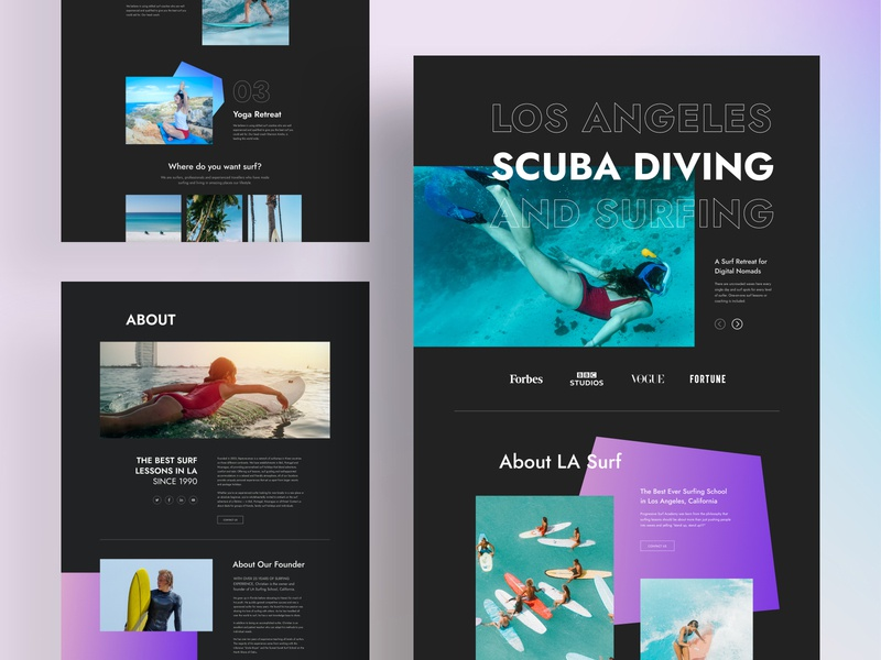 Scuba Diving Layouts for SP Page Builder Pro surf school page builder marine weblayouts website uidesign dark theme creative minimal dark surfing underwater diving snorkeling scuba diving