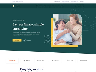 Fortune - Elderly Care Joomla Template elderly nursing home web interface webui minimal care caregiving donation charity old age nursing senior care elderly care