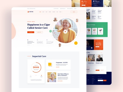 Fortune - Elderly Care Joomla Template template webui minimal donation charity caregiving old age nursing care senior living seniors elderly care