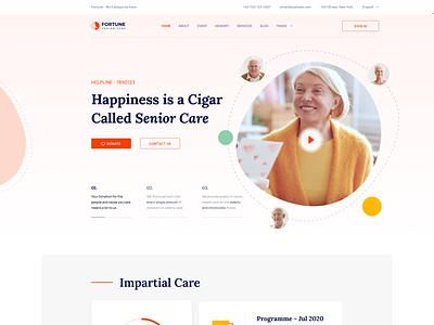 Fortune - Elderly Care Joomla Template template webui minimal donation charity caregiving old age nursing care senior living seniors elderly care