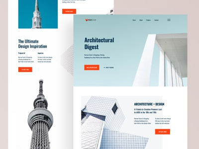Architecture Firm Website UI (Concept) website mockup typography colorful building minimal 2022 trends trendy 2020 2019 website ui web ux ui design architectural architecture