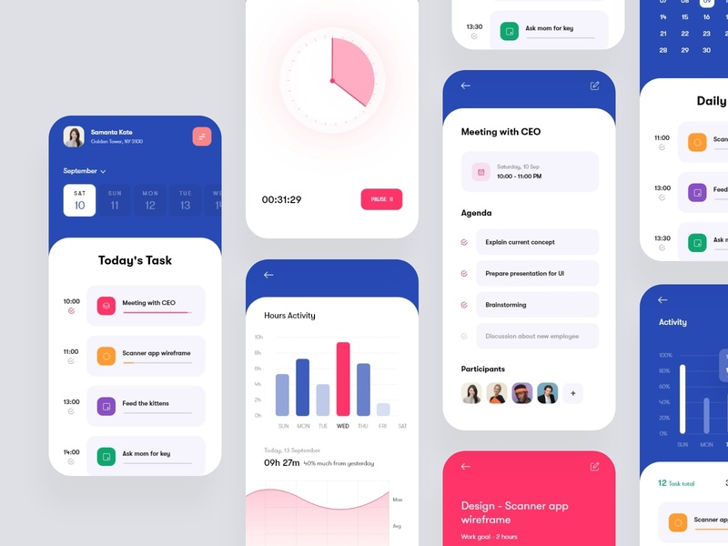 Task Management App (Full) ios 13 iphone gradient purple blue mobile trendy 2021 trends 2020 app ux mockup sketch xd design app ui ui typography colorful minimal task