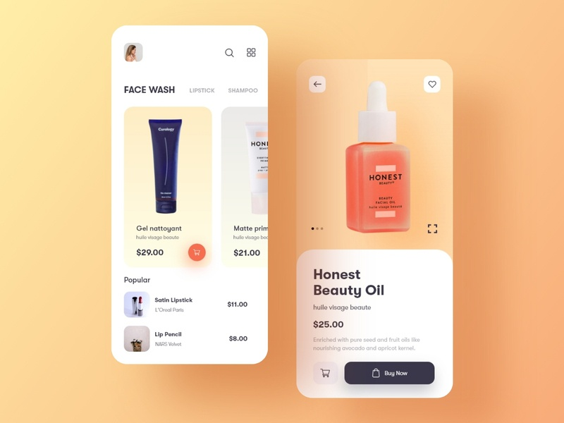 E-commerce app for beauty products presentation mobile ui mockup xd products colorful trend 2022 minimal ios apple uxdesign uidesigner ui design ui uidesign uiux ecommerce design ecommerce app ecommerce