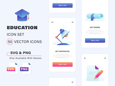 Education Premium $$ Icon set smooth web icon flat icon school university graduation study gradient