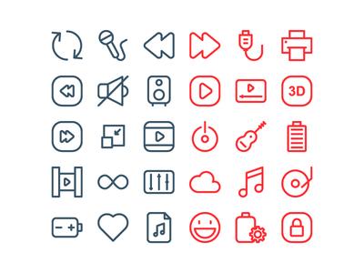 Music Multimedi Icon Set
