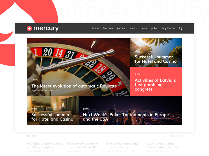 Mercury - WordPress Theme gambling theme magazine newspaper news casino wordpress mercury