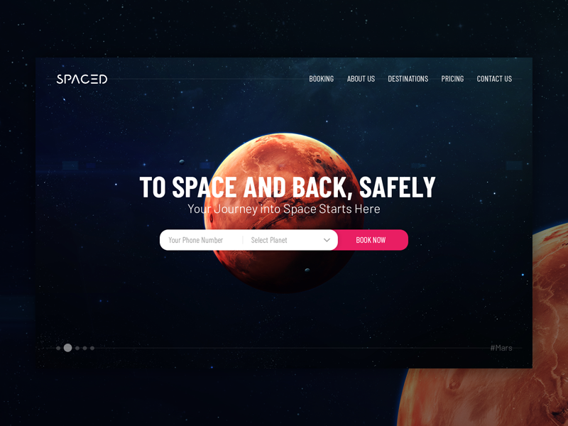 SPACEDchallenge homepage planet booking mars space homepage spacedchallenge