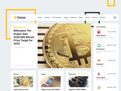 Ceres WordPress Theme ico news blockchain cryptocurrency bitcoin theme wordpress ceres