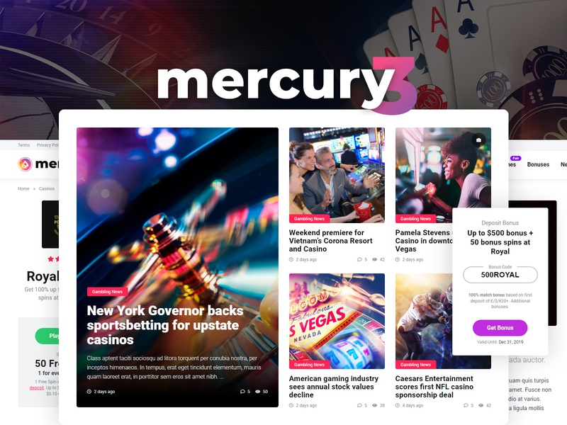 Mercury 3 games affiliate affiliate marketing mercury gambling newspaper magazine news casino theme wordpress