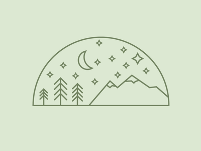 Simplicity in the stars simplicity line weight icons lines trees outdoors designs illustration