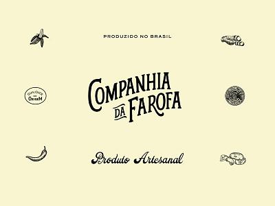 Companhia da Farofa branding illustration logo design typography lettering