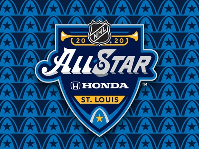 2020 NHL All-Star Event Brand sports architecture trumpets gold music piano stars misouri st louis blues ice hockey all-star hockey