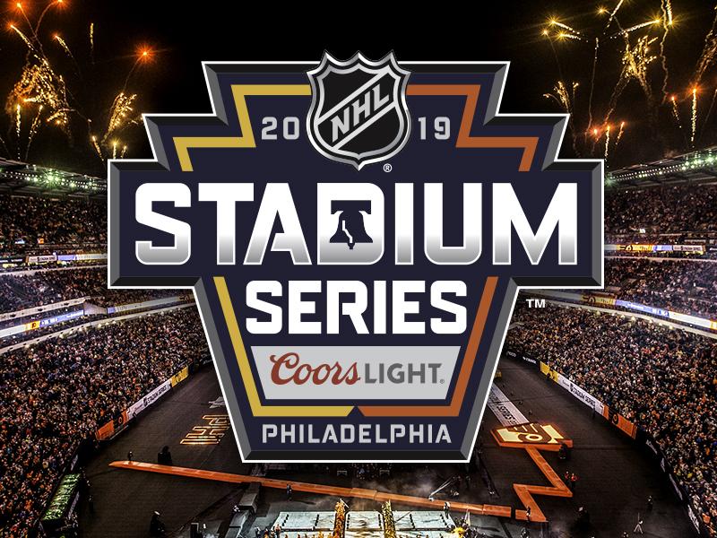 2019 NHL Stadium Series Identity fireworks sports outdoors chiseled black slate silver yellow gold orange liberty bell liberty keystone pennsylvania philly philadelphia hockey series stadium nhl