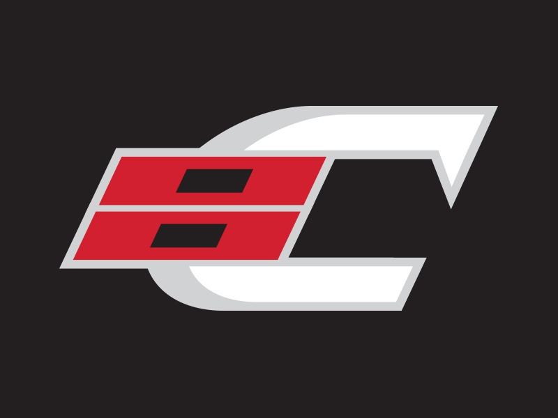 Carolina Hurricanes Secondary Logo Concept raleigh crest bold italic type angles black red silver white athletic branding sports logo sports ice hockey hockey nhl hurricanes carolina