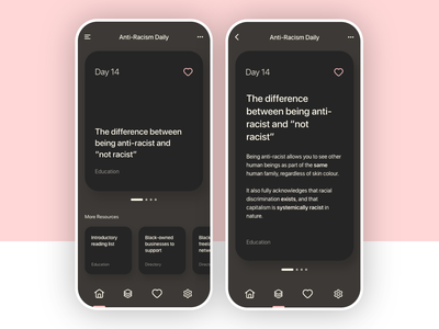 Anti-Racism — Daily Reminders ethical ux human resources ui message content typography minimalism minimalist love heart pink blog post blog dailyui humanui equality human blacklivesmatter antiracism
