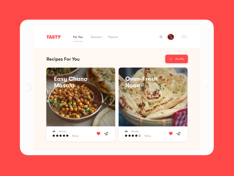 Tasty Recipe Feed emotional inclusive design fun delicious recipe shuffle feed curated for you yum indian dailyui food and drink typography design branding web app ux ui