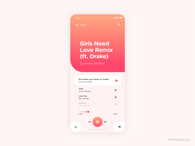 Music Player vibe play emotional mood pop hip hop summer love gradient pink music player dailyui drake artists music ux ui design branding app