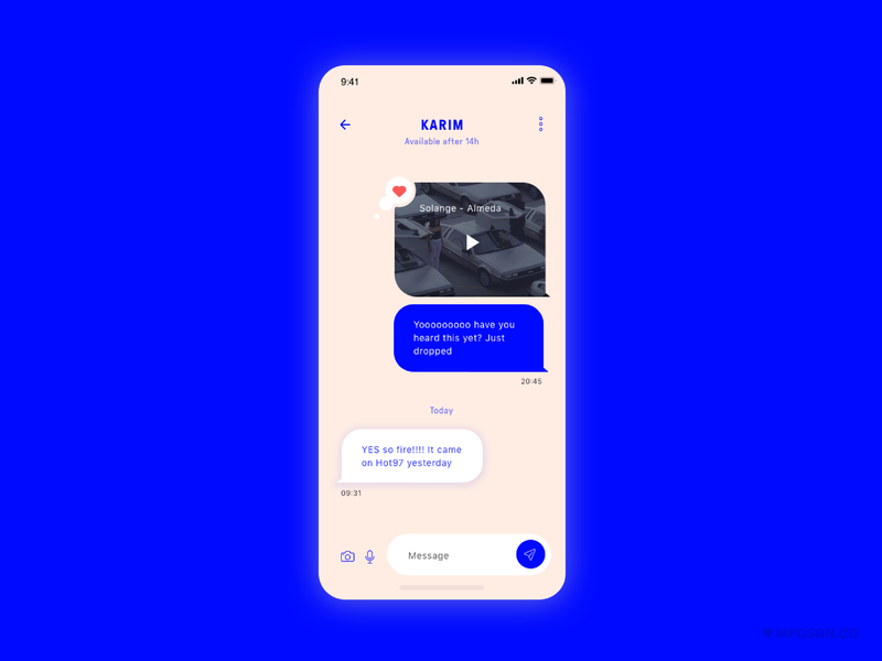 Direct Message emotional dailyui arts culture music video dm heart blue pink inclusive design love solange youtube chat ux ui design branding app
