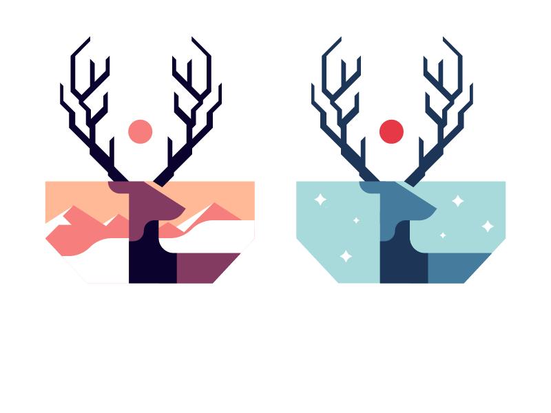 More Deer animal warm winter design minimalist logo illustration flat deer