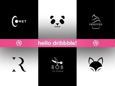 Hello Dribbble! start fresh premium first shot design graphic logo invite new hello dribbble debut