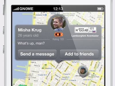 Numbers.app, profile pop-up  button info ios map profile pop-up social network friends buttons window iphone