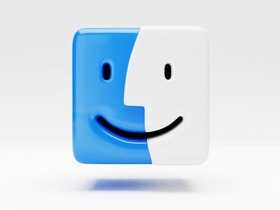 3D Finder icon big sur macintosh 3d icon skeuomorphism realism finder macosx icon blender3d blender 3d