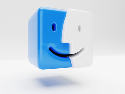 3D Finder side view macintosh mac 3d icon big sur finder macosx icon blender3d blender 3d