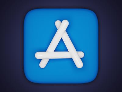 App Store icon big sur skeumorphism realistic realism icon appstore blender3d blender macos 3d icon 3d
