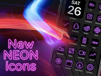 Iconic Neon iconography ios icon iphone app apple ios14 synthwave synth neon icons icon set