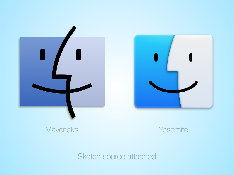 Mavericks vs Yosemite mavericks yosemite finder icon macosx 10.10 sketch source macos