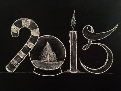 Happy New Year, dribbblers! chalk lettering handwritting 2015 new year