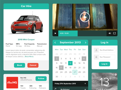 Minty Green UI Kit ui kit pack widget flat simple minimalist interface clean menu graph line