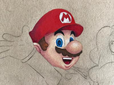 Mario & Yoshi yoshi color pencil toned tan drawing colour pencil strathmore prismacolor mario super mario