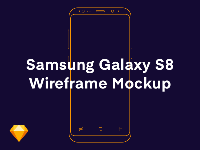 Free Samsung Galaxy S8 Wireframe Sketch Mockup outline device free mockup s8 samsung mockup wireframes vector ux user experience process flow