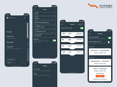 Flytoget monochromatic profile menu clean ui ui side menu monochromatic receipt card avatar menu profile accessibility