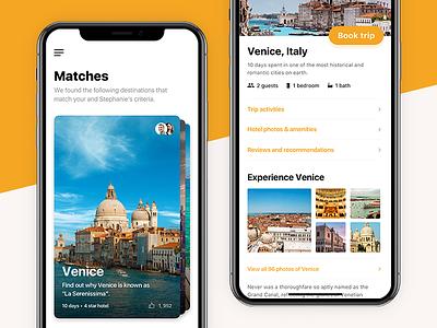 BIG Travel Matching Concept menu swipe user interface clean photos booking card travel ux ui