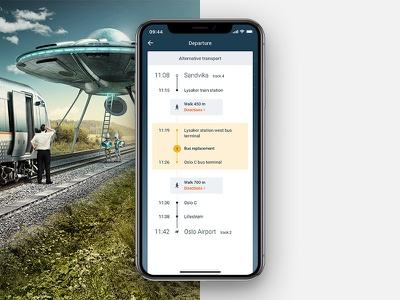 Flytoget Alternative Transport legs bus directions replacement travel station user interface clean ui ui ux disruption departure