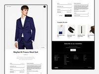 In-store eCommerce item details view suit shop panel ux ui flat suggestions minimal clean footer ecommerce fashion