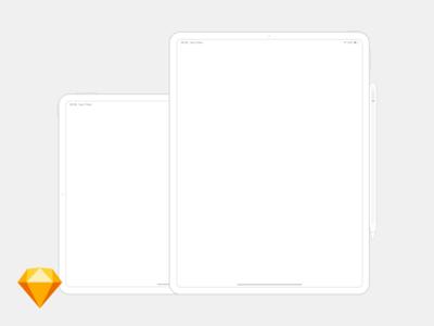 "iPad Pro 12.9"" Free Wireframe Sketch Mockup"