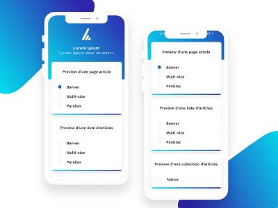 Application pour démo formats pub design design app boutonradio advertising format pub display ad display ui8 ux select form elements form builder form field iphone x app iphonex app