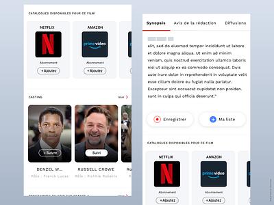 TV program card design casting tv film design app movie app svod vod catalog tv tv program card design ui ux app ios conception
