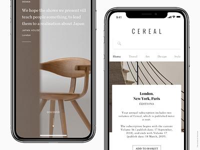 CEREAL MAGAZINE mobile style art design interior travel brand iphone x conception interface design ux ui app