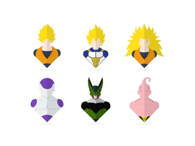 Flat dragon ball z characters!