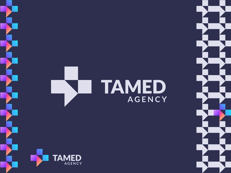 TAMED AGENCY F monogram mark identity new agency branding brand design illustration logo