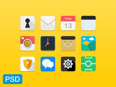 Flat Icons / PSD free freebie flat icons psd psddd