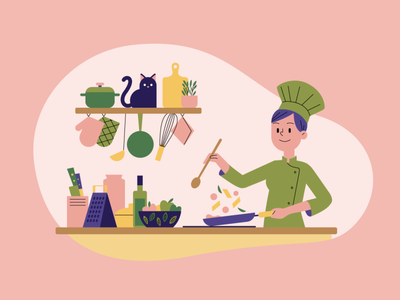 Cooking flat vector kitchen chef cooking character illustration