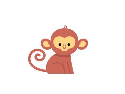 Monkey vector childrens illustration kids illustration cute animal monkey illustration